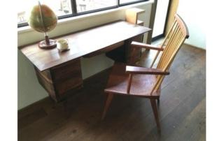書斎机と桜椅子のセット